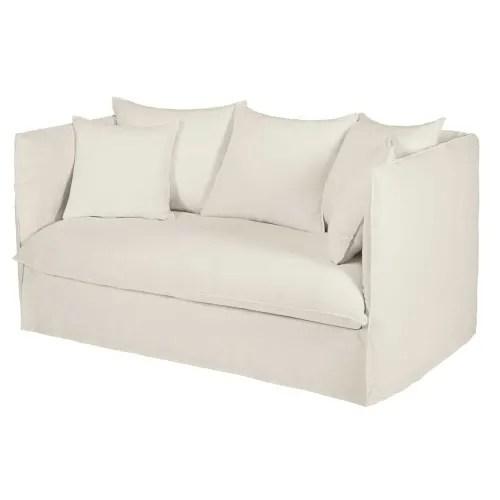 canape lit 2 places en lin lave blanc maisons du monde