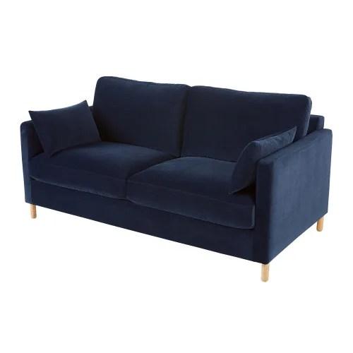 canape lit 3 places en velours bleu nuit matelas 10 cm maisons du monde