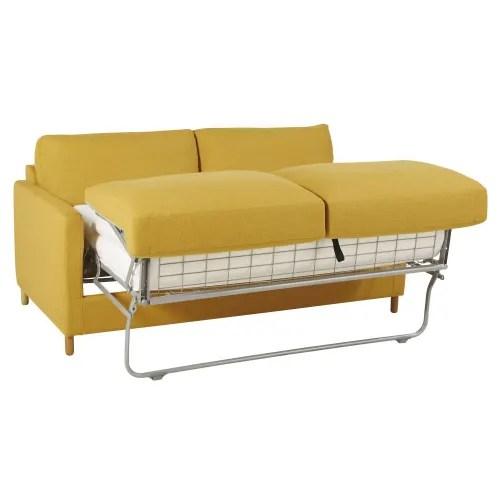 canape lit 3 places jaune moutarde matelas 14 cm maisons du monde
