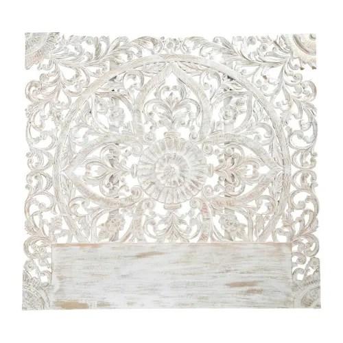 Amore e passione per lo stile in casa. Carved 160 Solid Mango Wood Headboard In White Kerala Maisons Du Monde