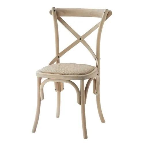 chaise bistrot en rotin et bouleau maisons du monde