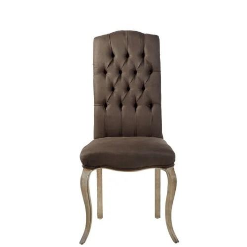 chaise capitonnee en lin marron et frene grise maisons du monde