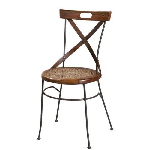 chaise croisee en sheesham massif et fer forge maisons du monde