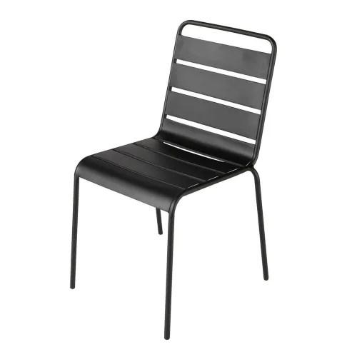 chaise de jardin en metal noire maisons du monde