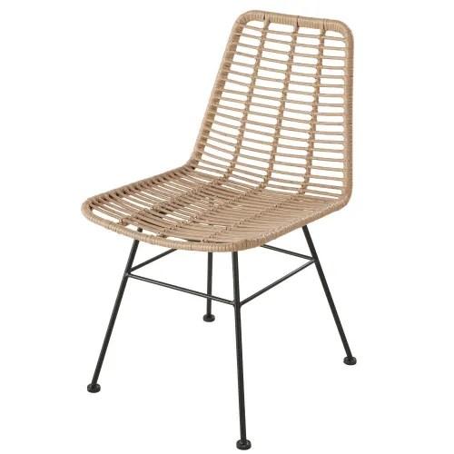 chaise de jardin professionnelle en resine et metal noir maisons du monde