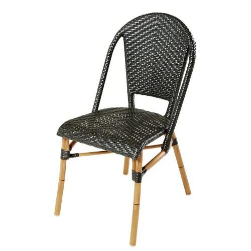 chaise de jardin professionnelle en resine tressee noire h88 maisons du monde