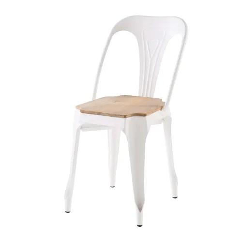 chaise en metal blanc et manguier maisons du monde