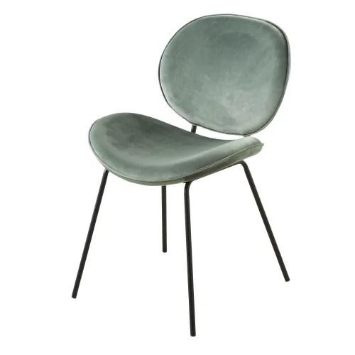 chaise en velours bleu gris et metal noir maisons du monde
