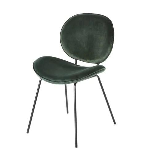 chaise en velours vert et metal noir maisons du monde