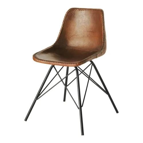 chaise indus en cuir marron maisons du monde