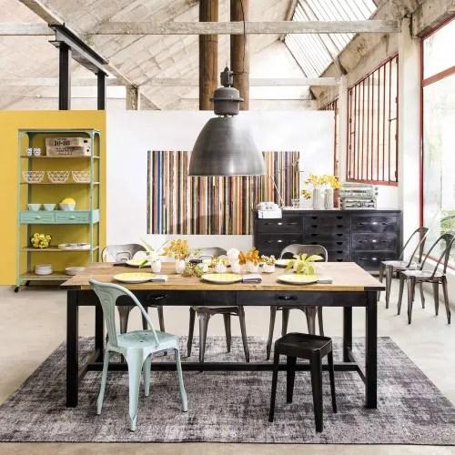 chaise indus en metal grise maisons du monde