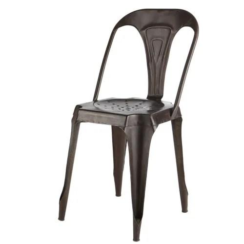 chaise indus en metal noir maisons du monde