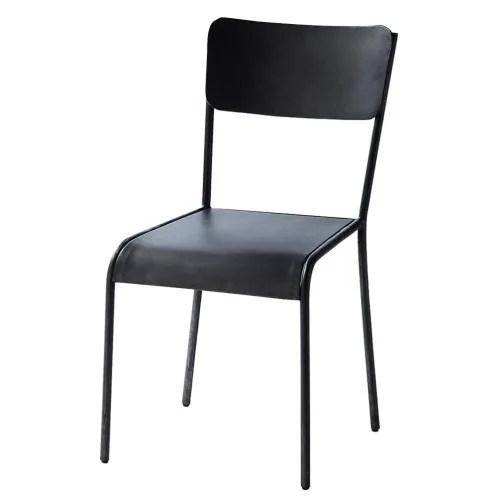 chaise indus en metal noire maisons du monde