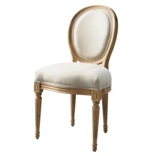 chaise medaillon en coton et chene massif ecrue maisons du monde