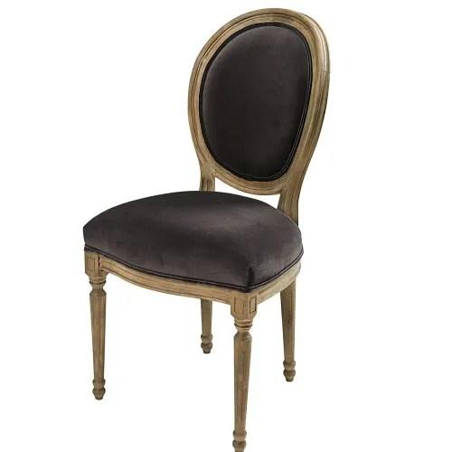 chaise medaillon en velours anthracite et chene massif maisons du monde