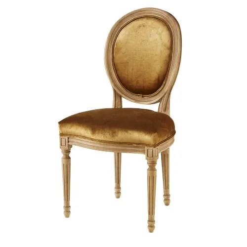 chaise medaillon en velours ocre et chene massif maisons du monde
