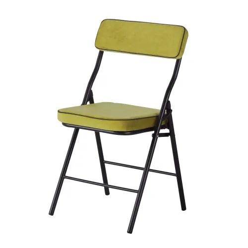 chaise pliante jaune et metal noir maisons du monde