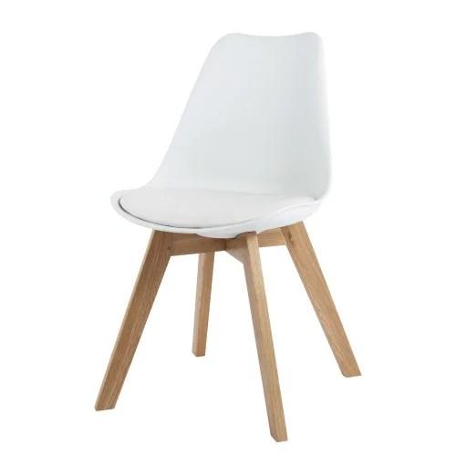chaise style scandinave blanche et chene massif maisons du monde