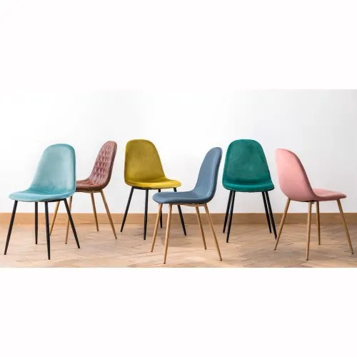 chaise style scandinave en velours vert sapin maisons du monde