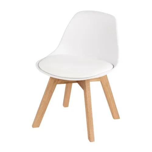 chaise style scandinave enfant blanche et chene maisons du monde