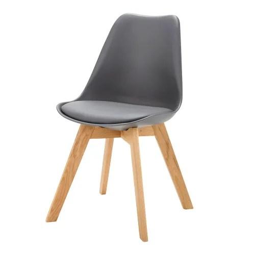 chaise style scandinave gris anthracite et chene maisons du monde