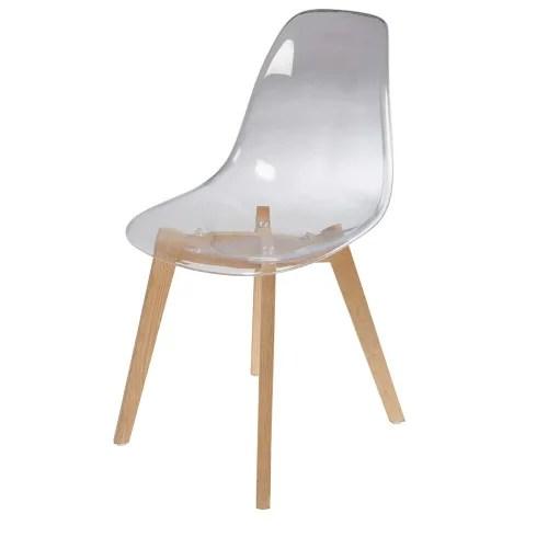 chaise style scandinave transparente et chene maisons du monde
