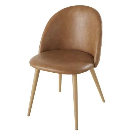 chaises professionnelles vintage camel et metal imitation chene x2 maisons du monde