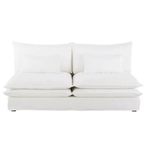 chauffeuse de canape 2 places en lin blanc maisons du monde
