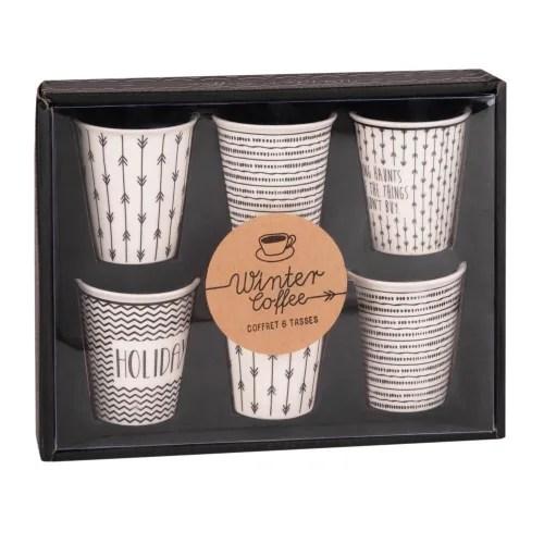 coffret 6 tasses en porcelaine blanche motifs noirs maisons du monde