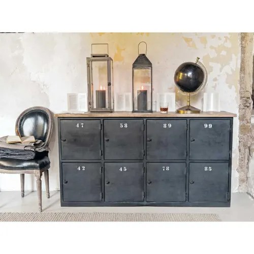 comptoir indus en metal gris anthracite et manguier maisons du monde