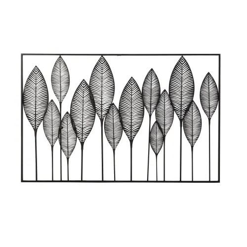 Kmiko scultura in metallo decorata da parete,foglia di loto decorazione parete xxl design fatta a mano quadro di metallo lussuoso murale,126x67cm. Decorazione Da Parete In Metallo Nero Traforato 125x82 Cm Lagos Maisons Du Monde