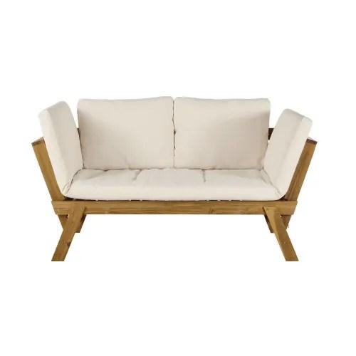 Molto ampia è la gamma di divani e poltrone, tavoli e tavolini,. Divanetto Da Giardino Componibile 3 Posti In Acacia E Cuscini Ecru Relax Maisons Du Monde