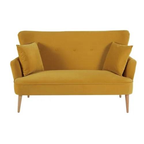 Divano vintage 2 posti in pelle color cammello morgan su maisons du monde. Divano 2 Posti In Velluto Color Senape Leon Maisons Du Monde