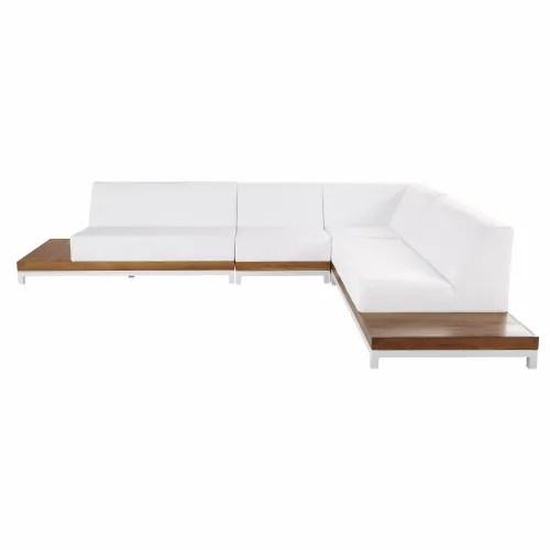 3/4 seater rattan and fabric sofa in ivory | maisons du monde divano colorato. Divano Ad Angolo Da Giardino 6 Posti In Alluminio E Teak Callisto Maisons Du Monde