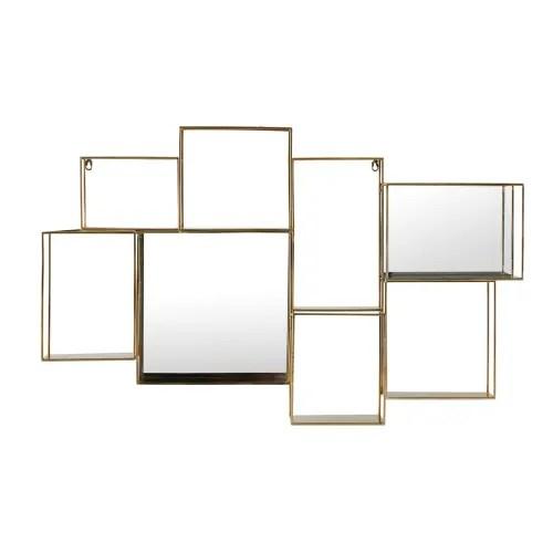 etagere murale miroir en metal dore maisons du monde