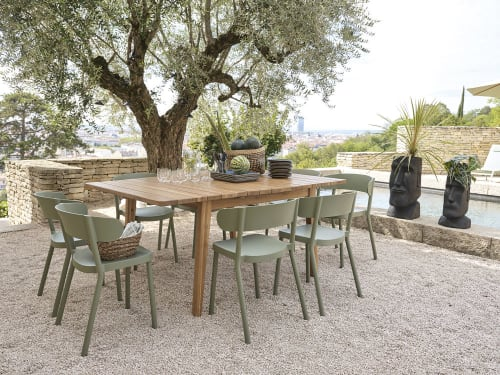 extendable solid acacia 6 8 seater square garden table l120 160 maisons du monde