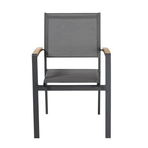 fauteuil de jardin en aluminium gris anthracite maisons du monde
