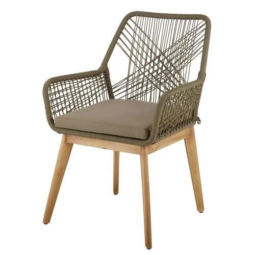 fauteuil de jardin en corde tressee vert kaki et acacia massif maisons du monde