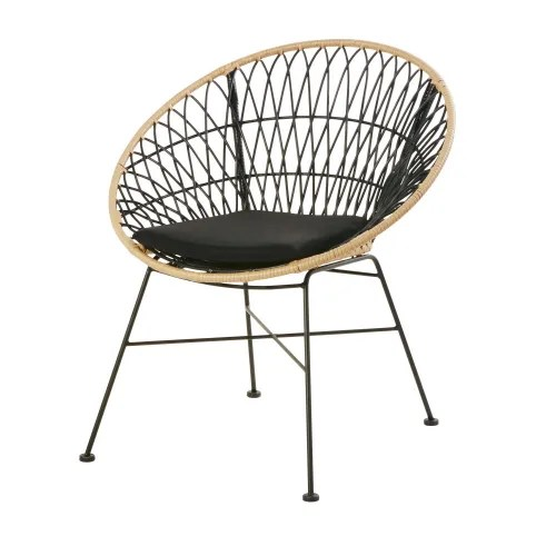 fauteuil de jardin en resine noire et imitation rotin maisons du monde