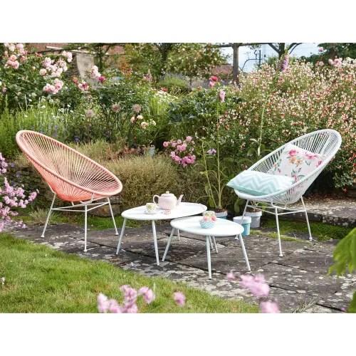 fauteuil de jardin rond blanc maisons du monde
