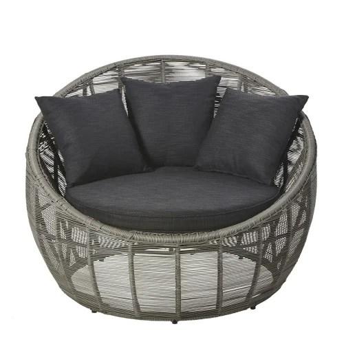 fauteuil de jardin rond en resine tressee grise maisons du monde