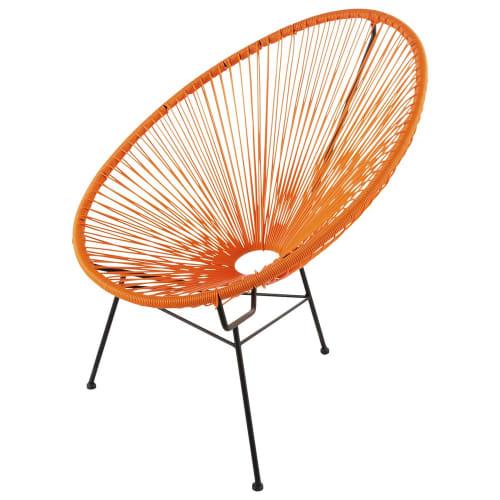 fauteuil de jardin rond orange maisons du monde