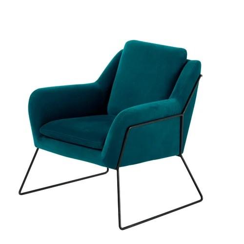 fauteuil en velours bleu petrole maisons du monde