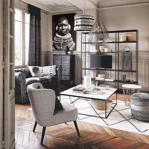 fauteuil en velours motifs noirs et blancs maisons du monde