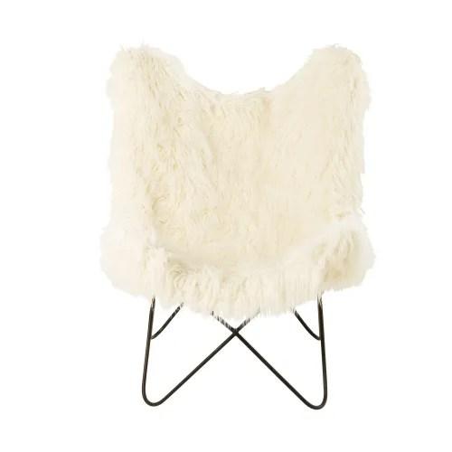 fauteuil imitation fourrure ivoire maisons du monde