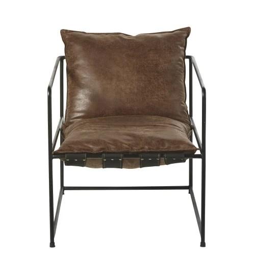 fauteuil marron vieilli et metal noir maisons du monde