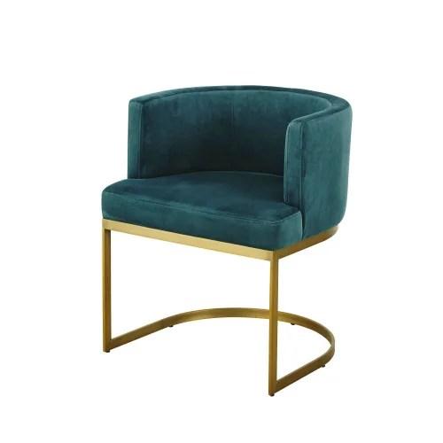 fauteuil vintage en velours bleu canard maisons du monde