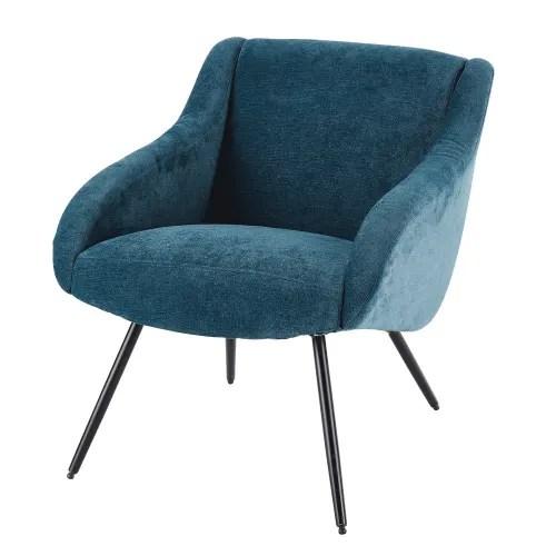 fauteuil vintage en velours bleu et metal maisons du monde