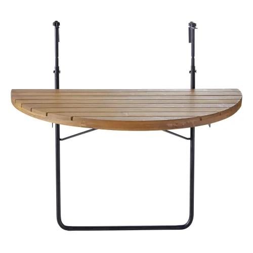 foldaway solid acacia and black metal balcony table l80 maisons du monde