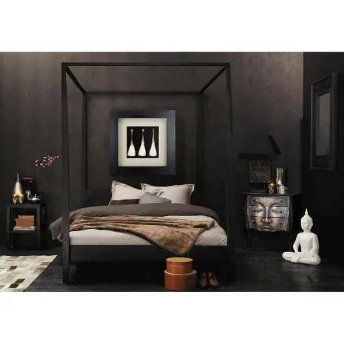 four poster solid acacia wood king size bed maisons du monde